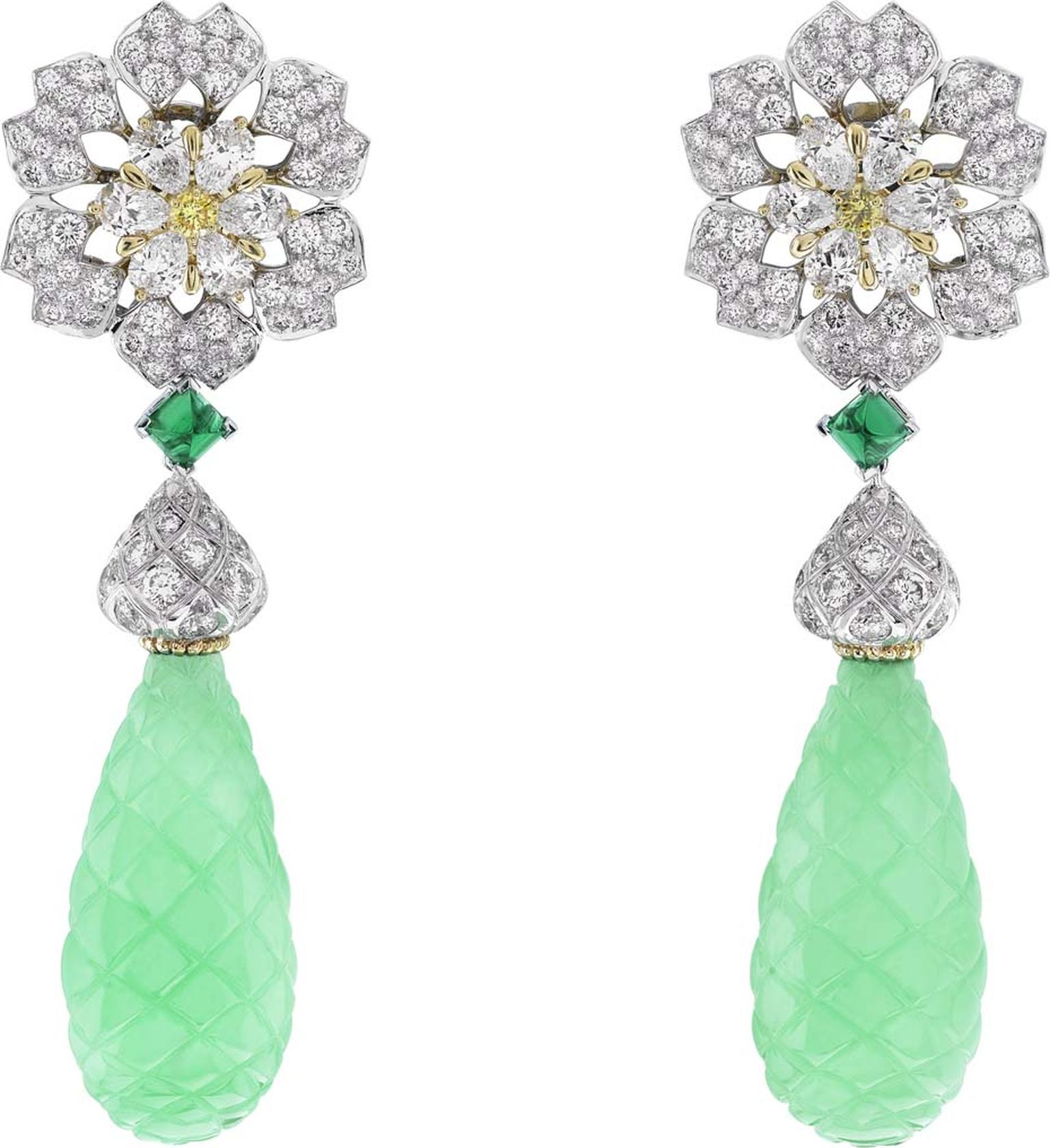 Van Cleef & Arpels Peau d'Âne collection Enchanted Forest white gold drop earrings with a white and yellow diamond flower motif above emerald cabochons and two carved chrysophrase.