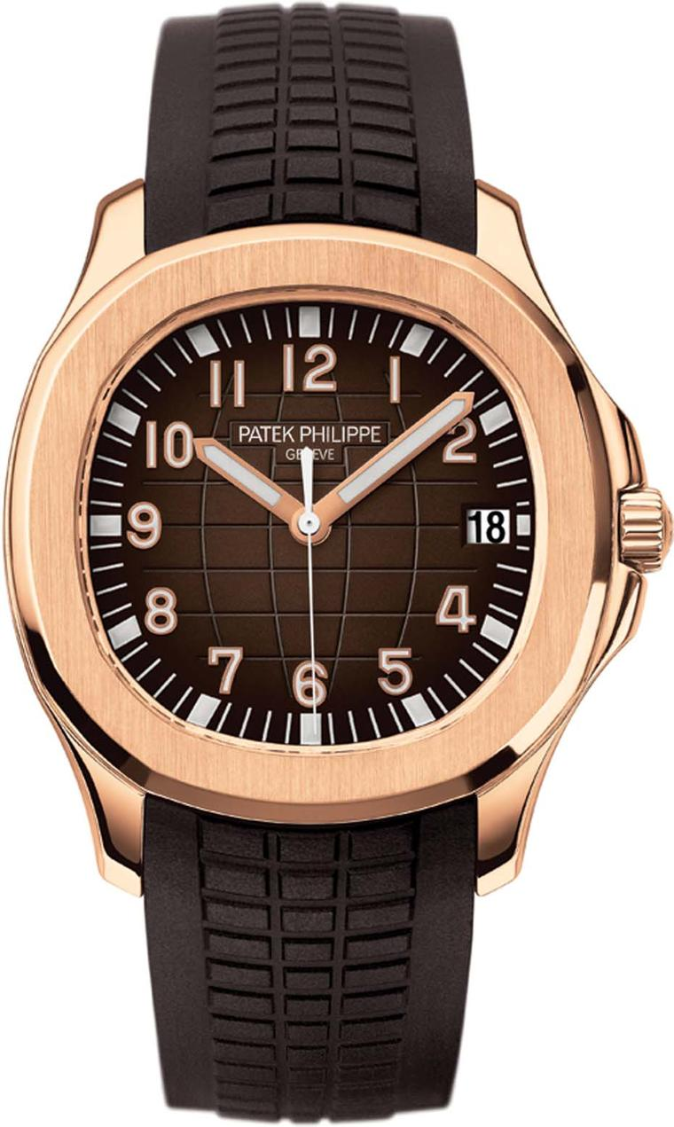 Patek Philippe Aquanaut dive watch in rose gold, with an embossed chocolate-brown dial with applied gold indices and matching composite strap.