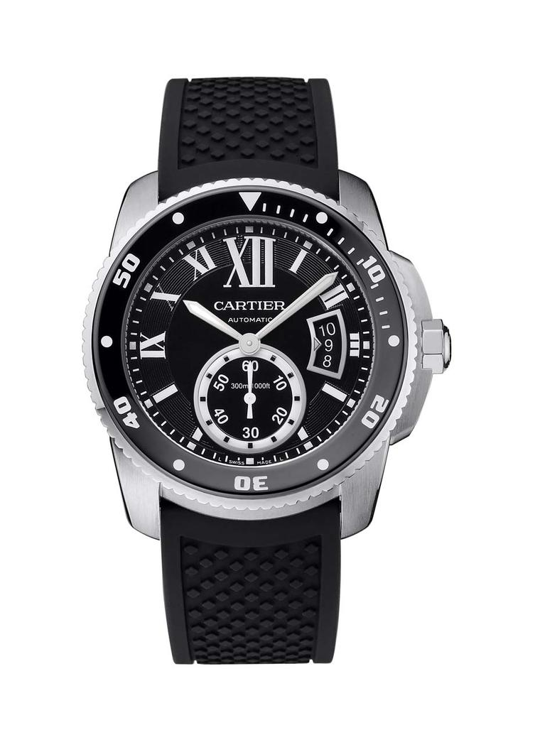 The Cartier Calibre Diver watch is a 42mm ISO certified diver's watch featuring an automatic in-house 1904 MC calibre, housed in a case of steel.