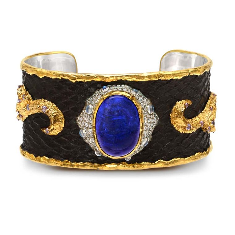 Victor Velyan gold and silver bracelet with a black patina, set with tanzanites, diamonds, moonstones and purple sapphires.