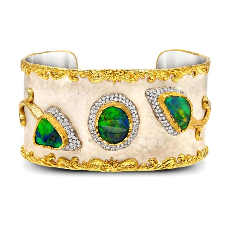 Victor Velyan gold and silver bracelet with a white patina, set with black opals and diamonds.