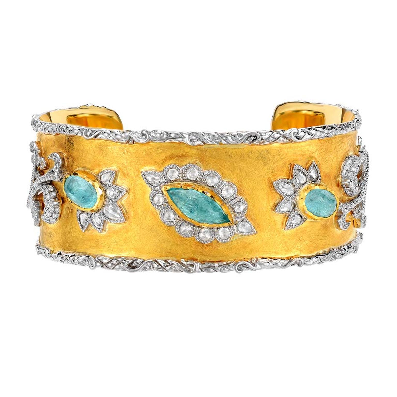 Victor Velyan gold bracelet with Paraiba tourmalines and diamonds.