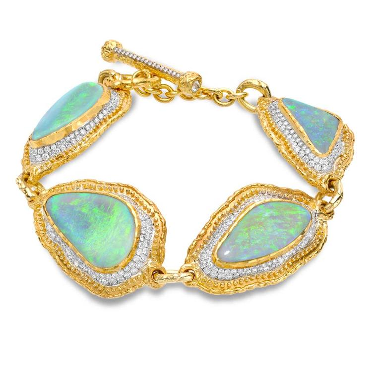 Victor Velyan white and yellow gold bracelet with black opals and diamonds.