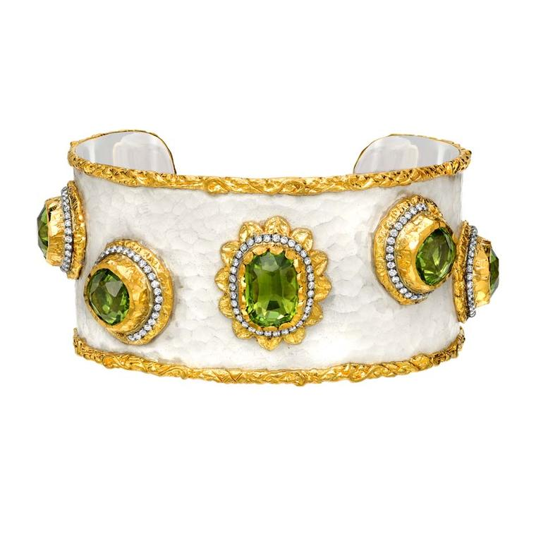 Victor Velyan gold and silver bracelet with a white patina, set with peridots and diamonds.