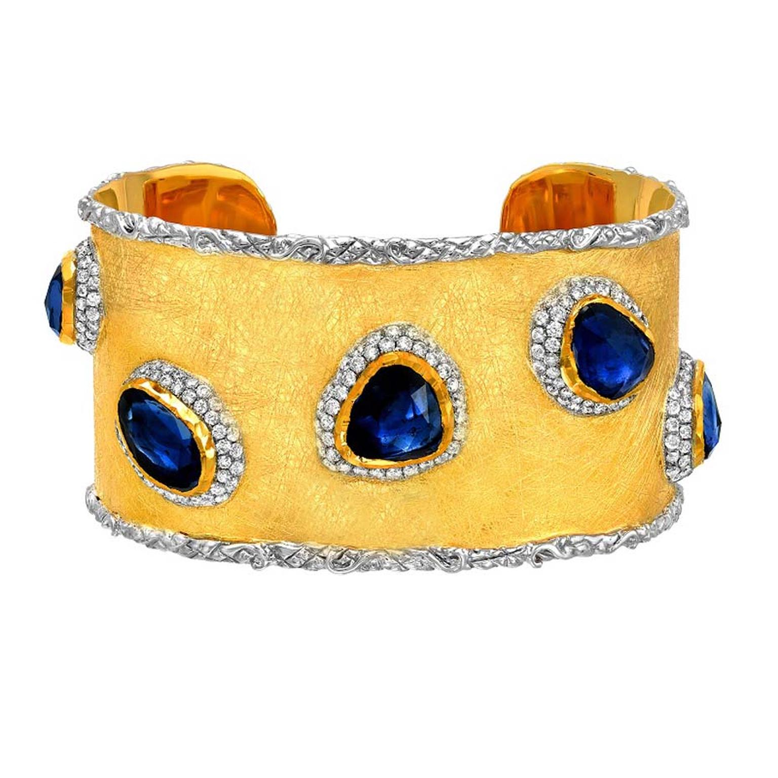 Victor Velyan gold bracelet with 15.43ct blue sapphires and diamonds.