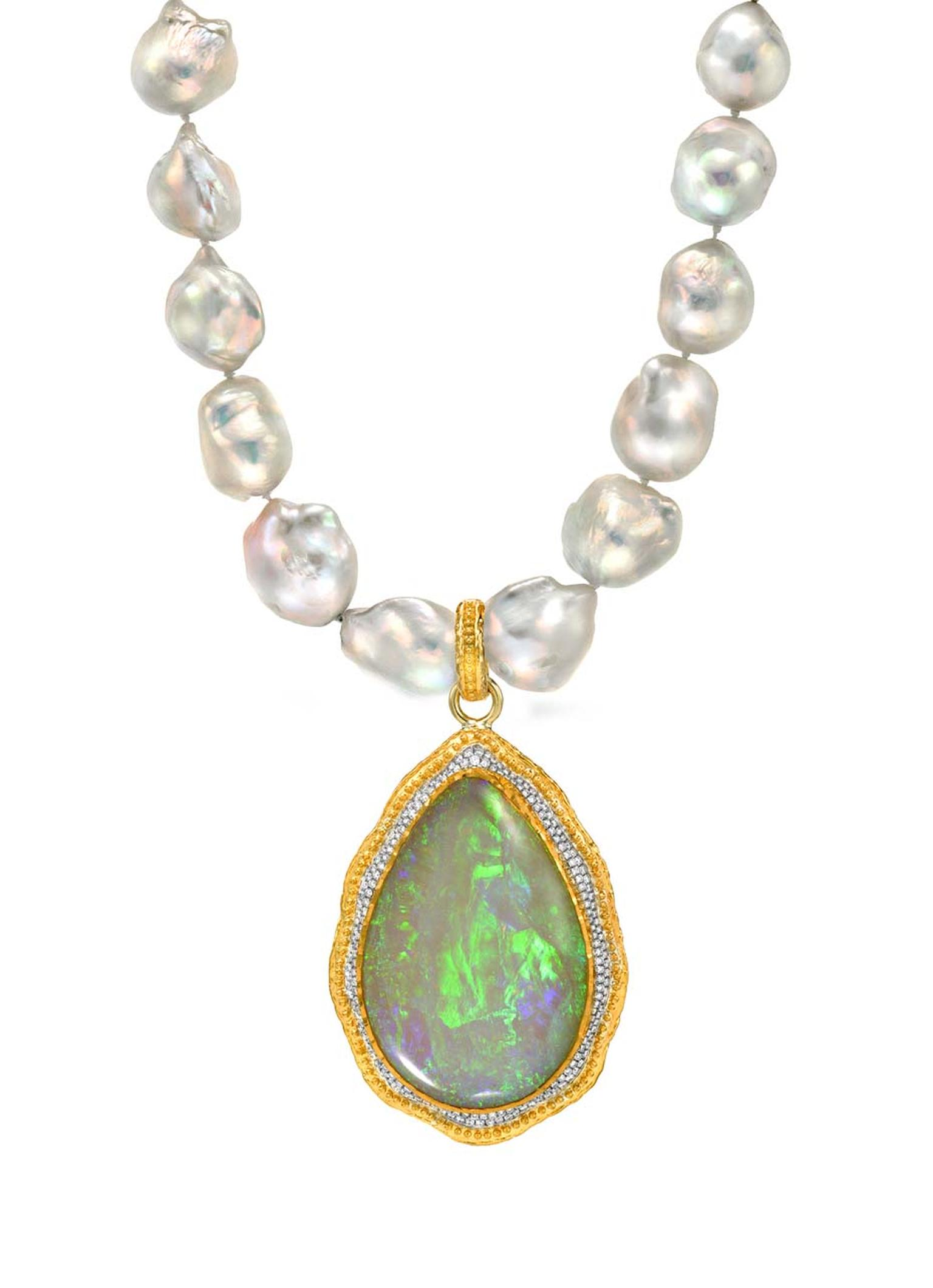 Victor Velyan gold and silver pendant with a central 36.55ct black opal surrounded by diamonds on a pearl necklace.