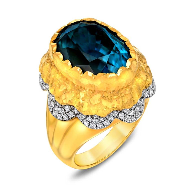 Victor Velyan white and yellow gold ring with a 22.96ct blue zircon and diamonds.