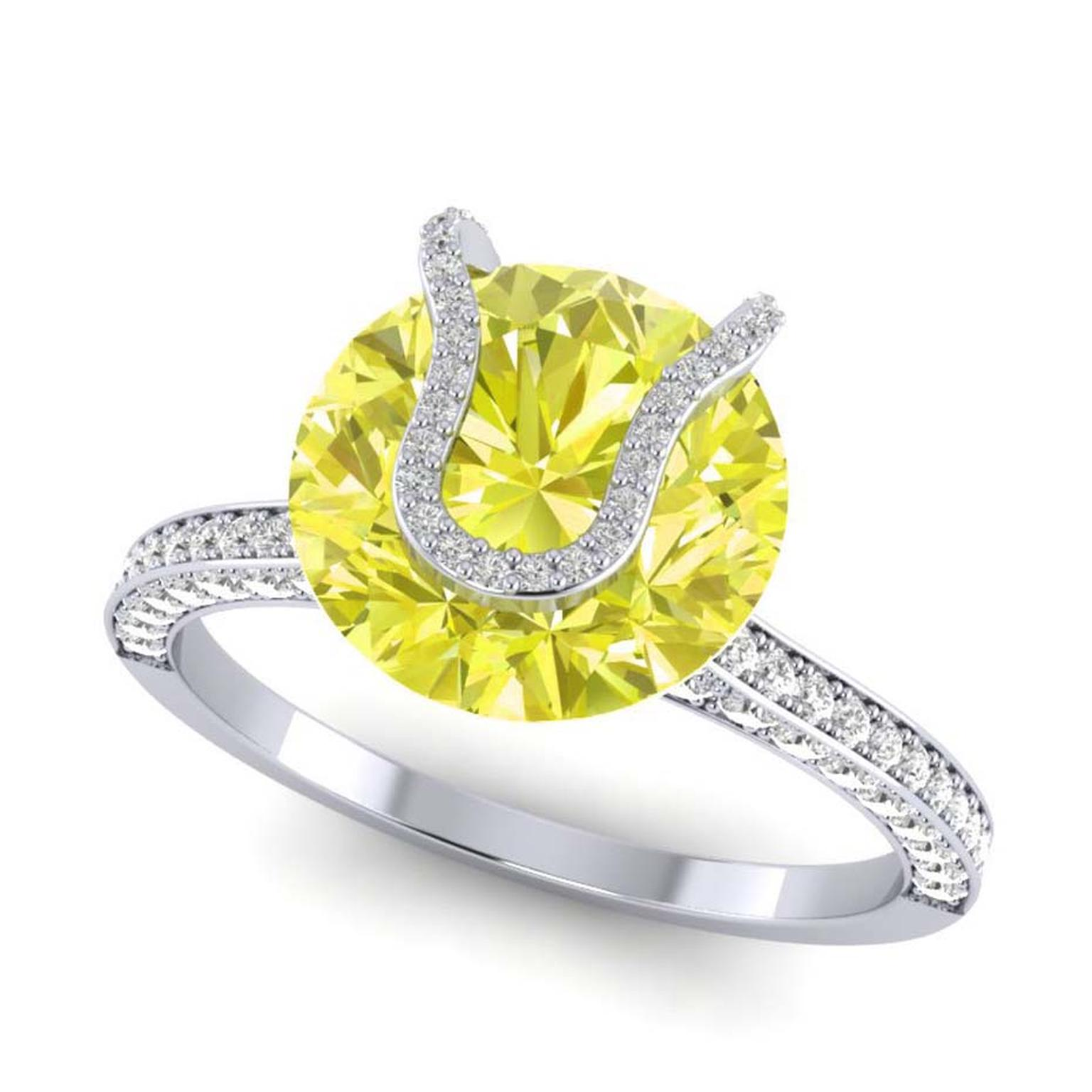 Rare Pink's engagement ring features a rare 2.00ct fancy yellow diamond.