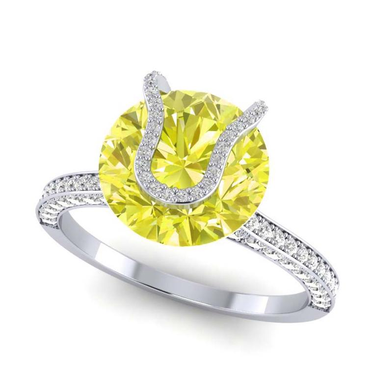 Taylor and Hart's engagement ring features a rare 2.00ct fancy yellow diamond.
