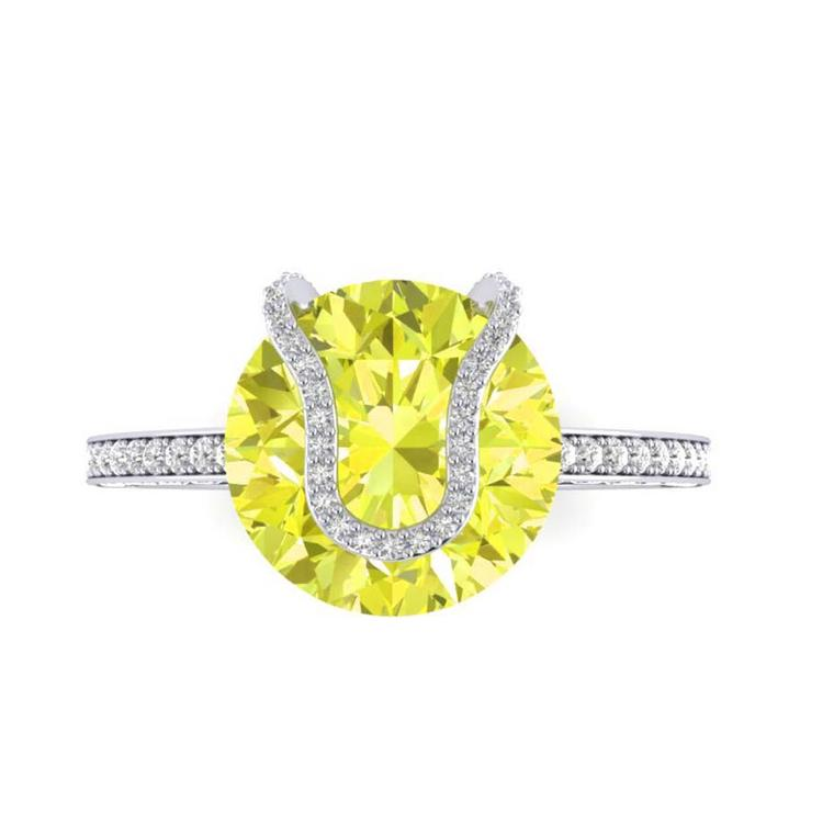 Because of the rarity of fancy yellow diamonds, this Rare Pink engagement ring has a value of approximately £80,000.