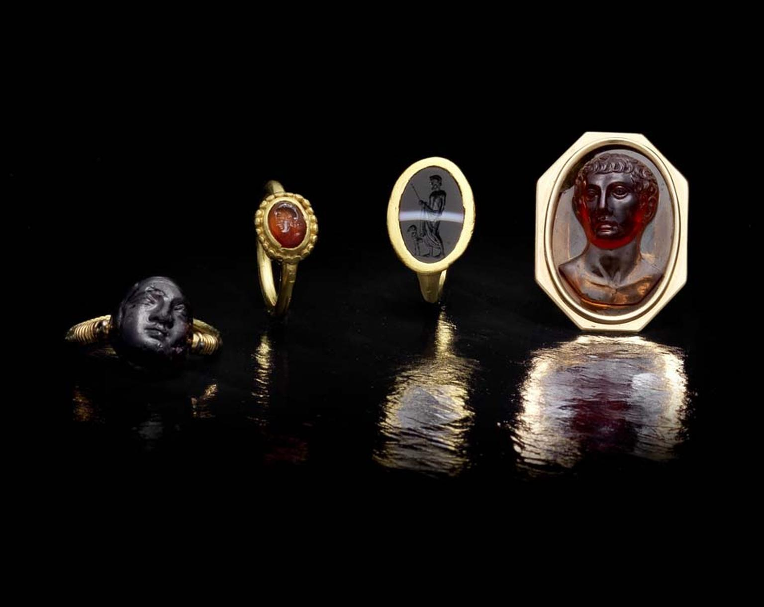 A selection of intaglio rings from the Ceres Collection. The most ancient ring of the collection dates from the 4th century BC and others range from the Renaissance period right through to the 19th century.