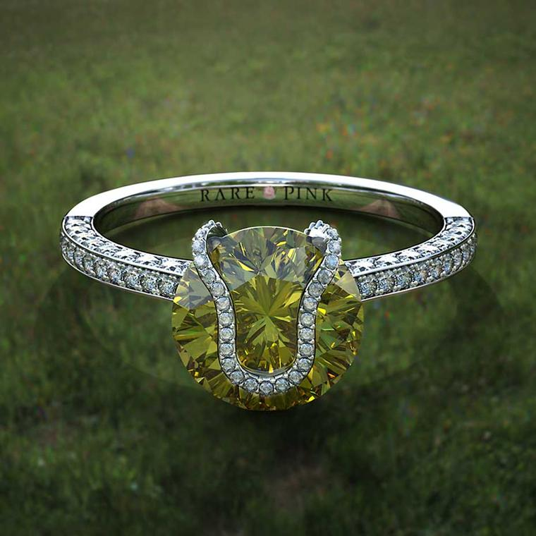 Game set and a perfect match with this striking Taylor and Hart yellow diamond engagement ring