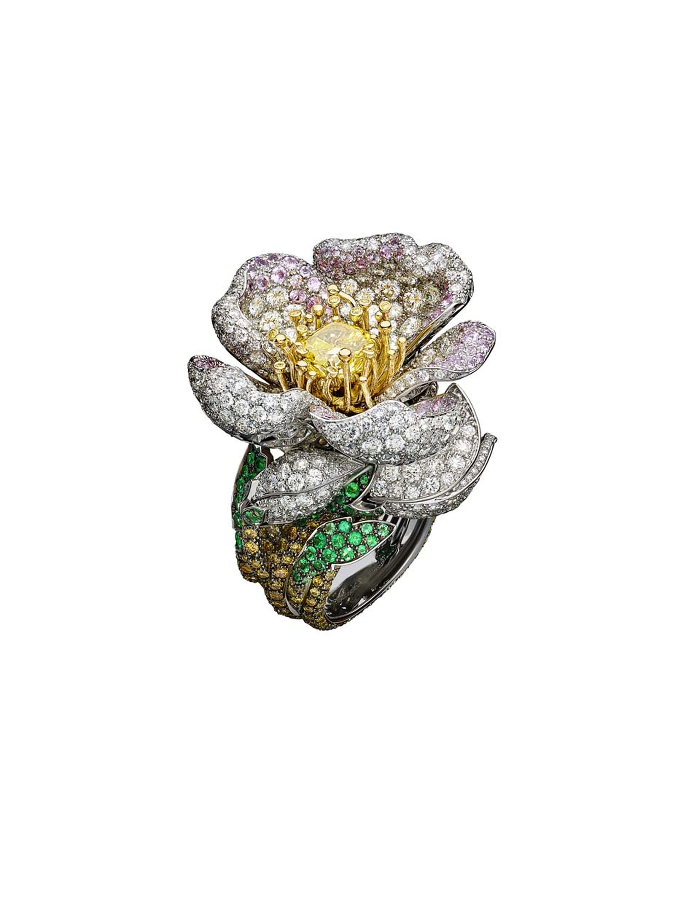 Giampiero Bodino Primavera white and yellow gold ring featuring an emerald paved shank leading to pink sapphires as well as white, grey, yellow and cognac diamonds underneath a budding yellow diamond. Image by: Laziz Hamani