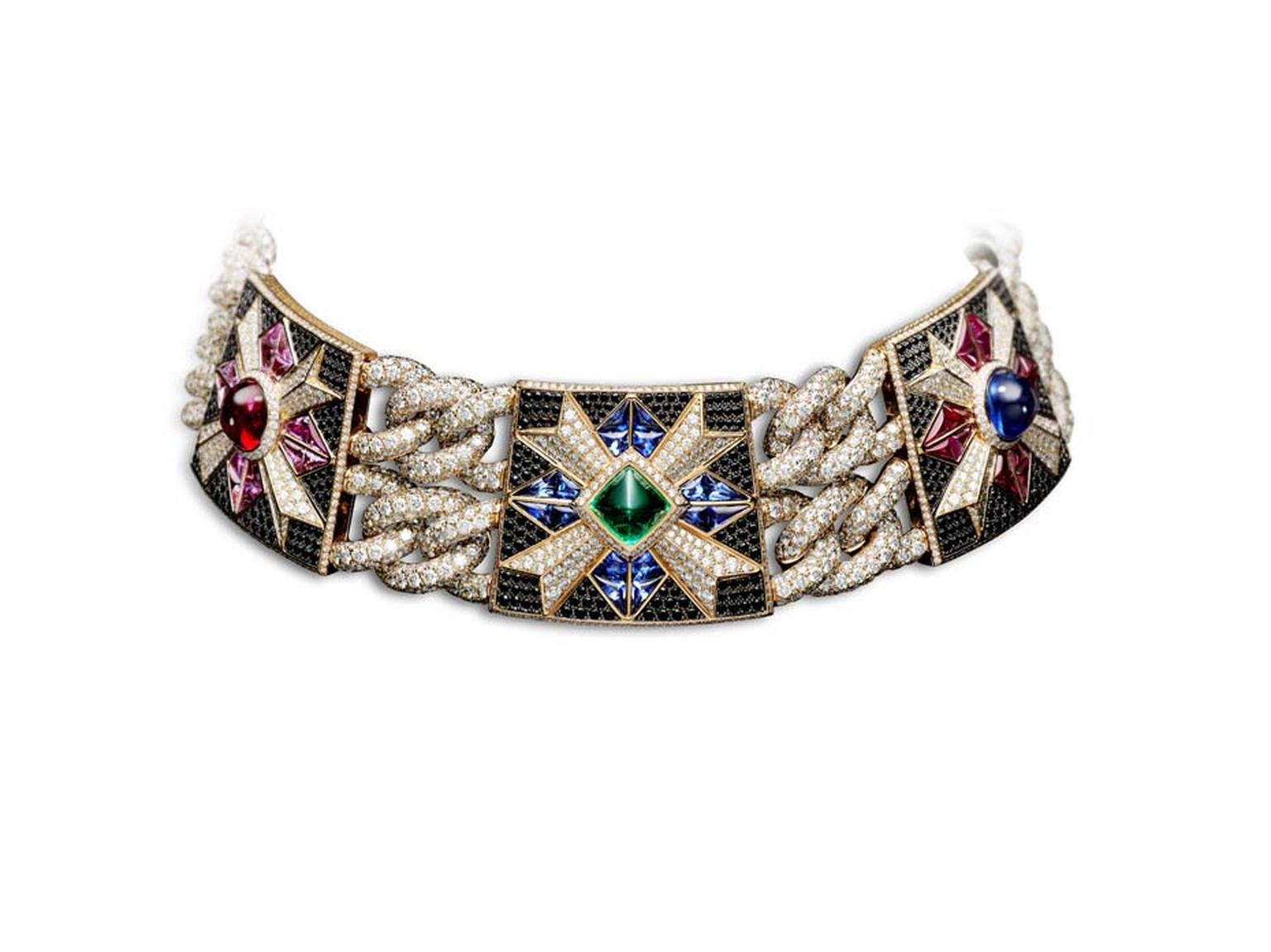 Giampiero Bodino Rosa dei Venti choker with a diamond-encrusted chain featuring coloured gemstones. Image: Laziz Hamani.