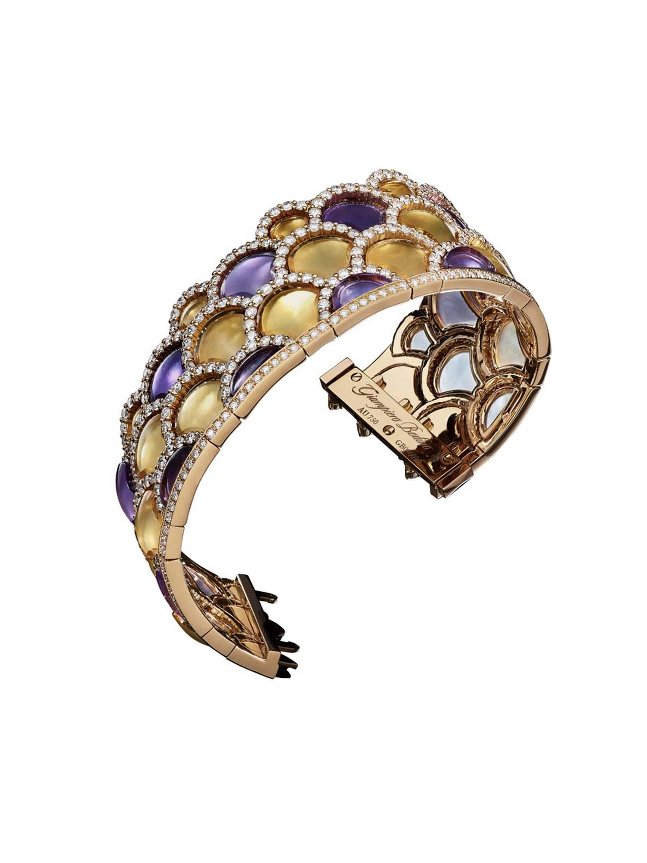 Giampiero Bodino Mosaic bracelet featuring layers of amethyst and citrine outlined by diamonds. Image: Laziz Hamani.