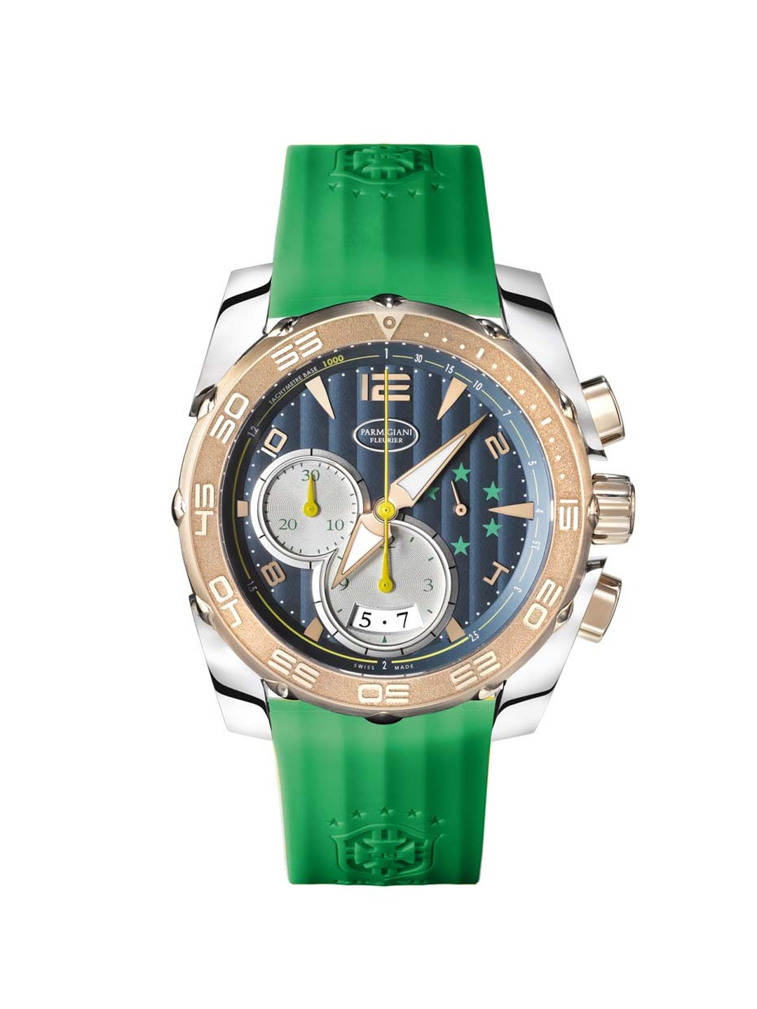 The Parmigiani Fleurier 45mm Pershing CBF chronograph for men celebrates the brand's bond with Brazil and features five green stars at 3 o'clock, which represent Brazil's five World Cup victories.
