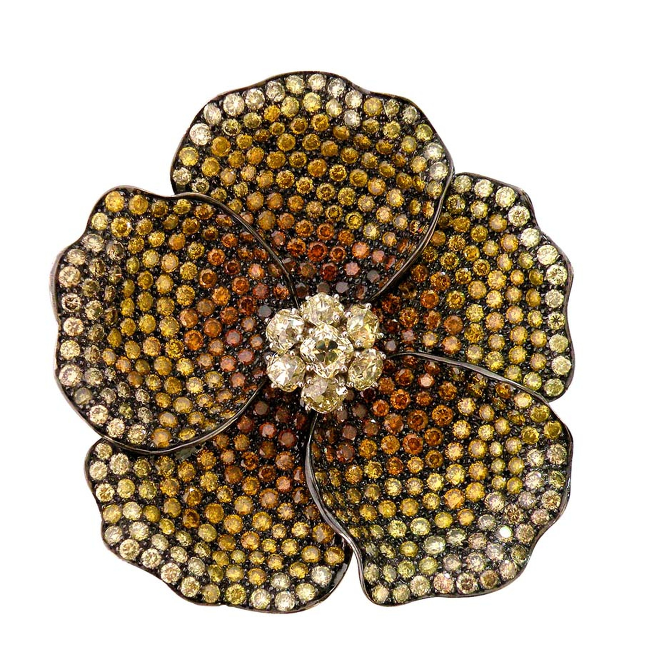 VIVAAN Bloom flower pendant-brooch studded with brilliant cut natural fancy yellow, green and burnt orange diamonds.