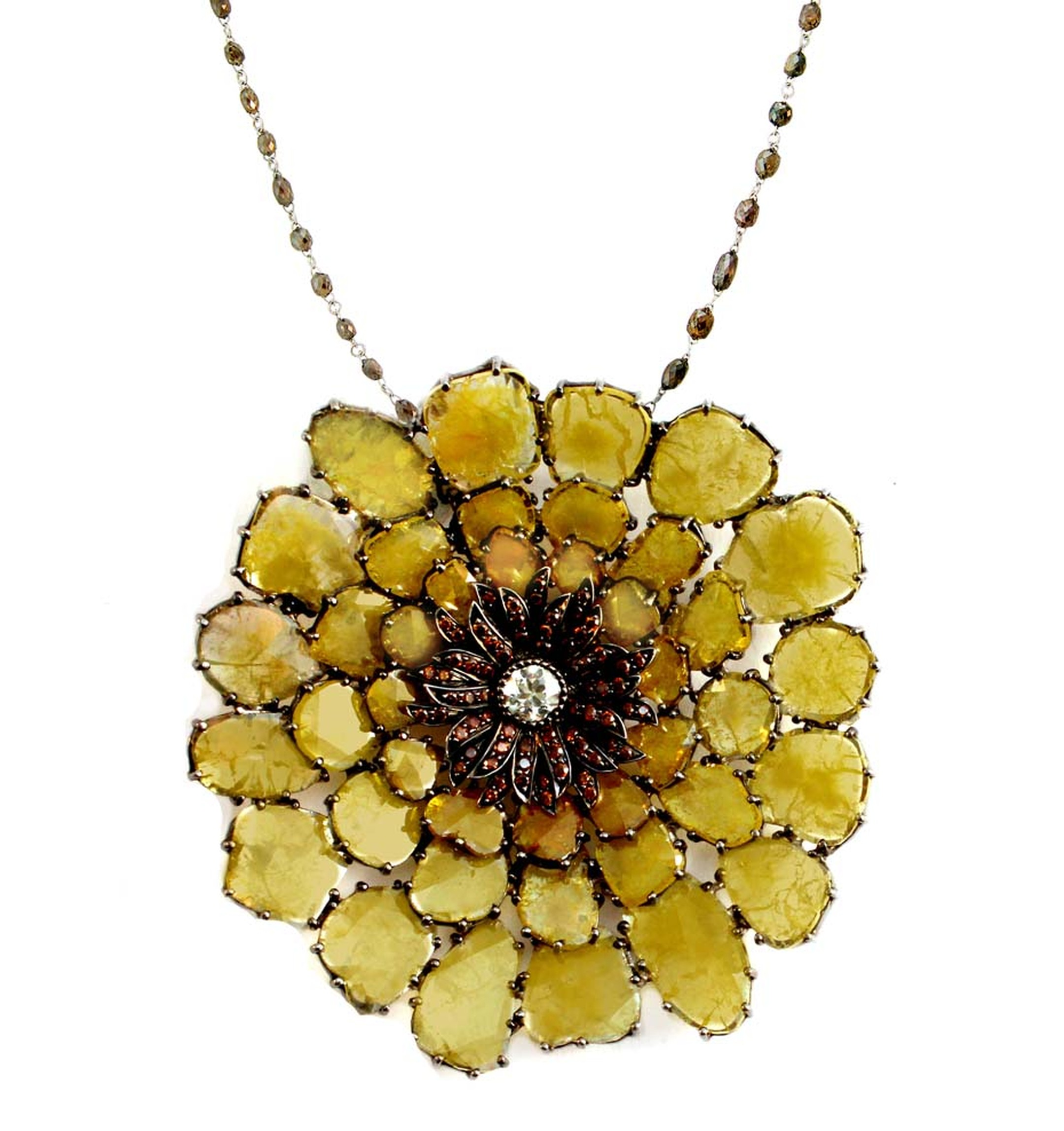 VIVAAN Gossamer flower pendant studded with natural yellow diamond rose cut slices, burnt orange diamonds and a central white diamond.