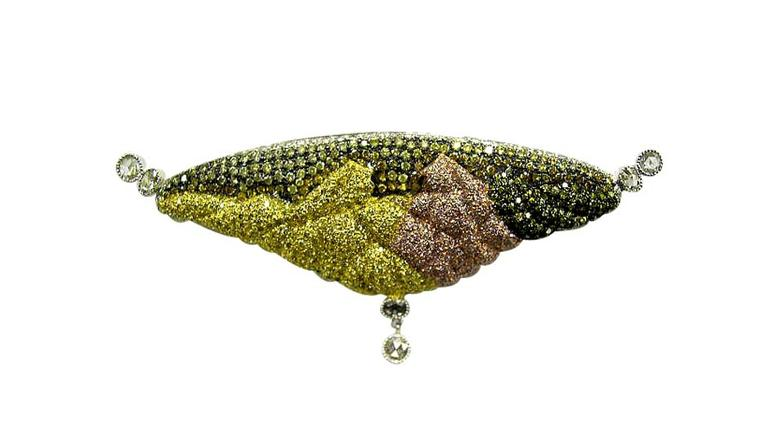 VIVAAN Whisper pendant-brooch studded with natural pink and yellow diamonds as well as natural green diamonds.