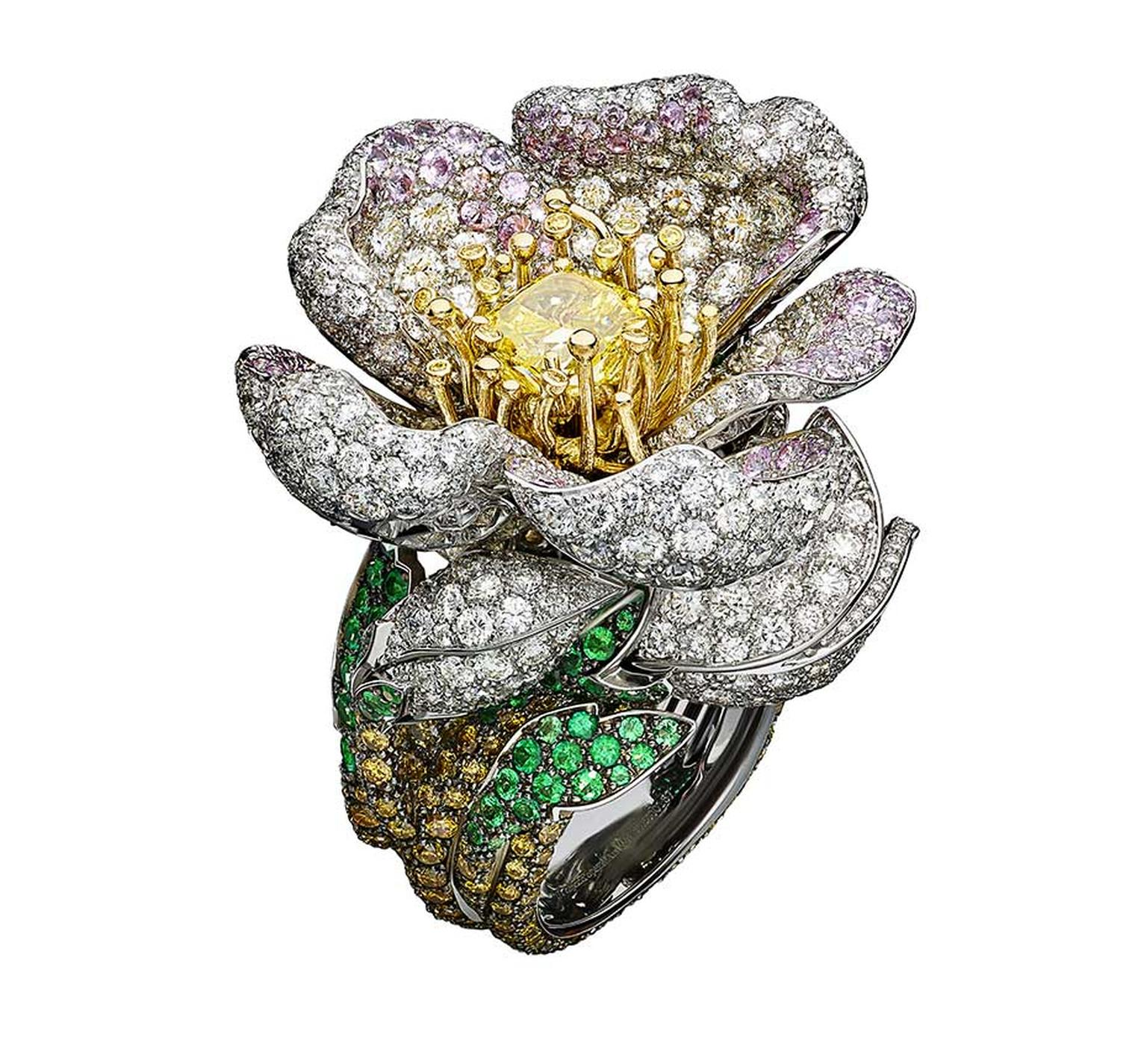 Giampiero Bodino Primavera white and yellow gold ring with white, grey, yellow and cognac diamonds, pink sapphires, emeralds and a central yellow diamond. Image: Laziz Hamani.