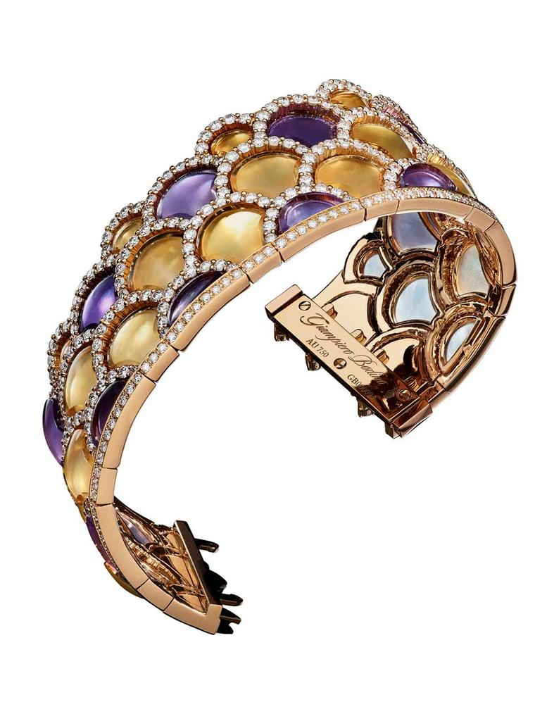 Giampiero Bodino Mosaic bracelet featuring layers of amethyst and citrine outlined by diamonds. Image: Laziz Hamani