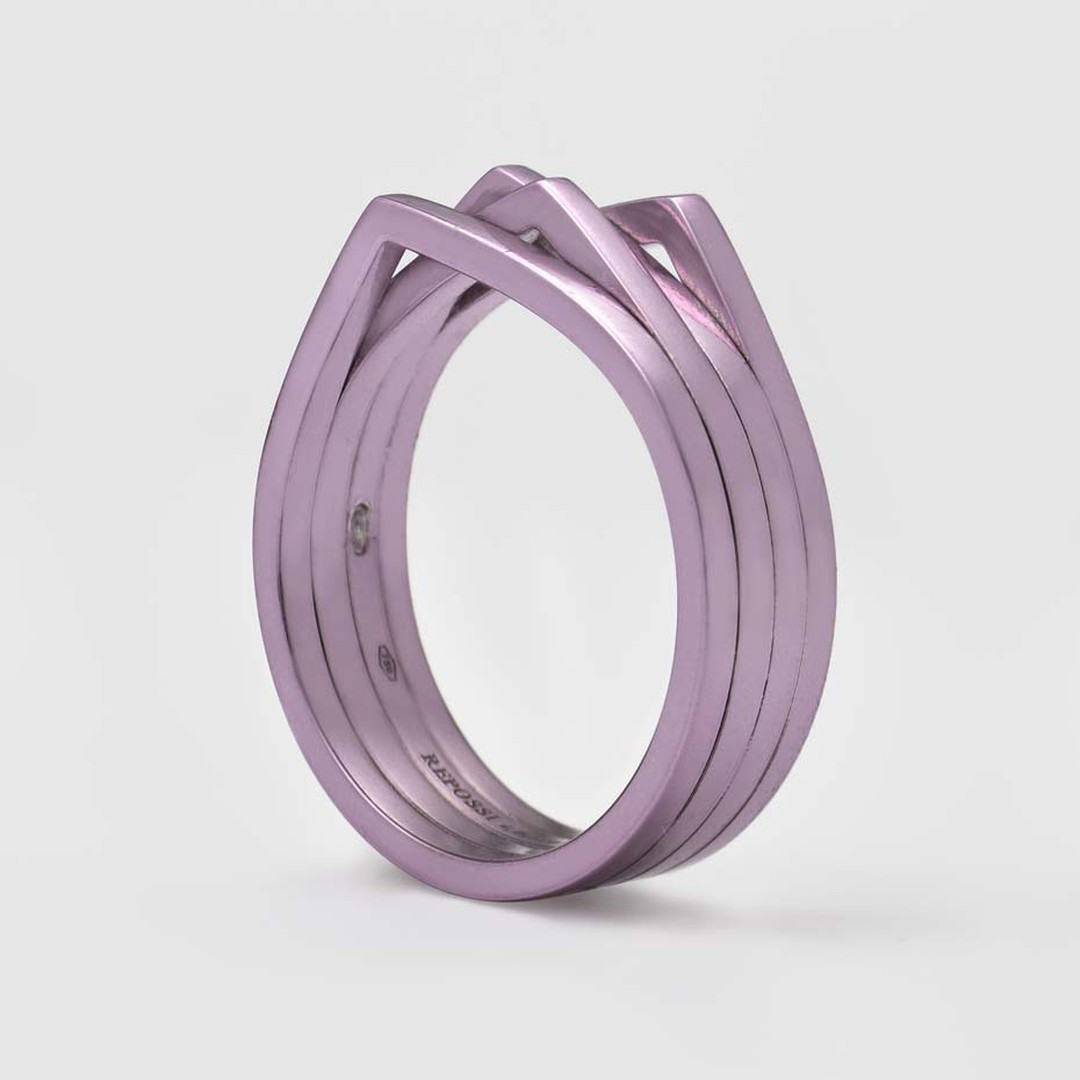 Repossi White Noise collection lilac rhodium ring.