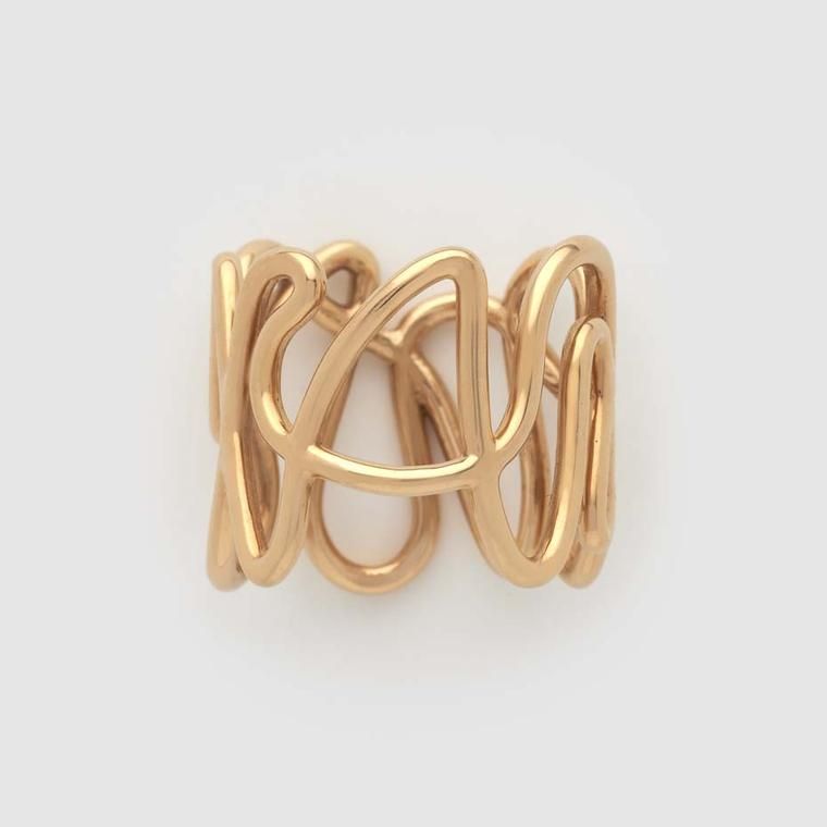 Repossi White Noise collection yellow gold ring.