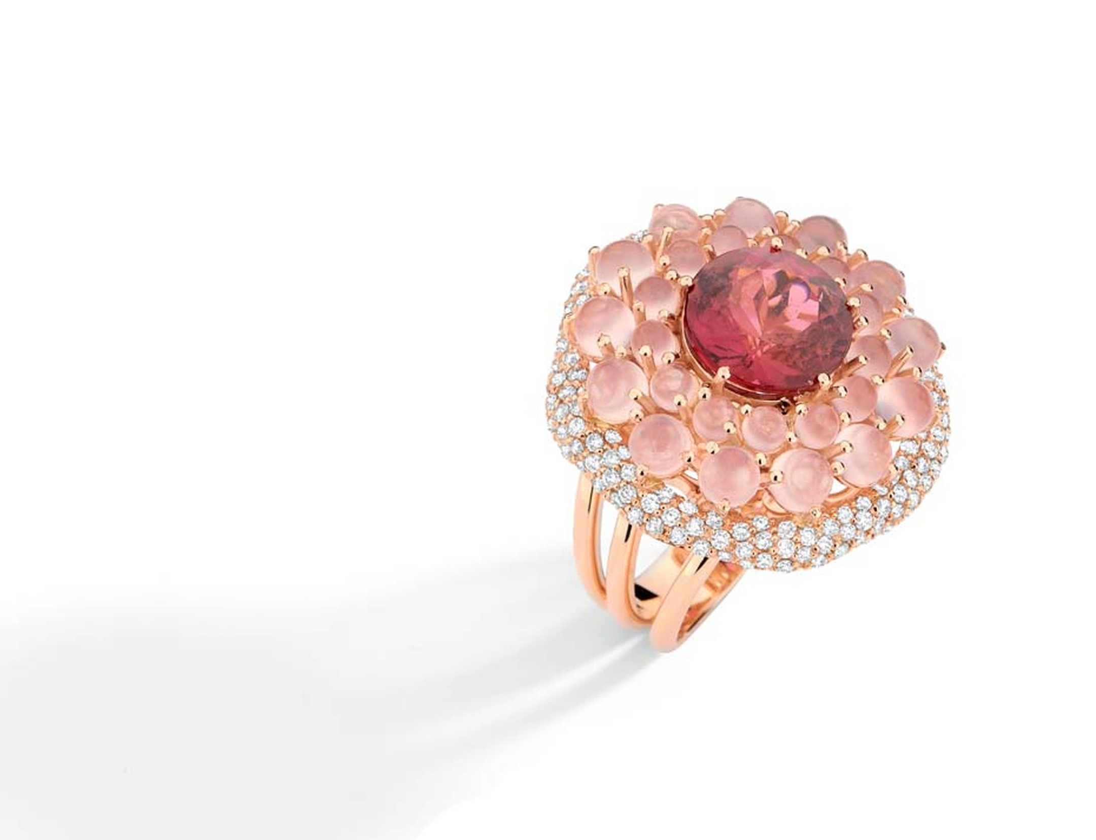 Brumani Baobab collection rose gold ring with rose quartz, a central pink tourmaline and diamonds.
