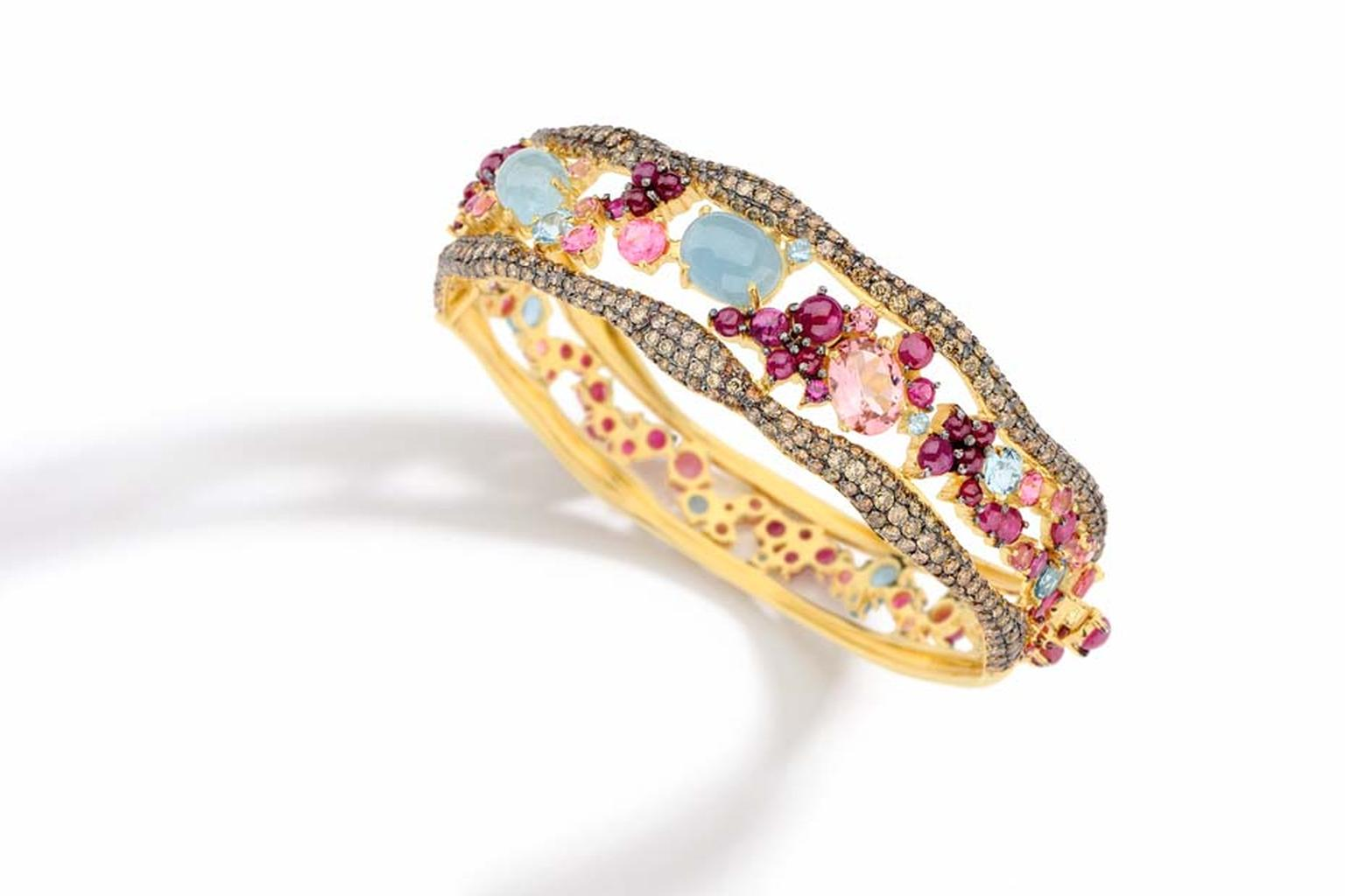 Brumani Baobab collection yellow gold bracelet with brown diamonds, aquamarines, rubies and pink tourmalines.