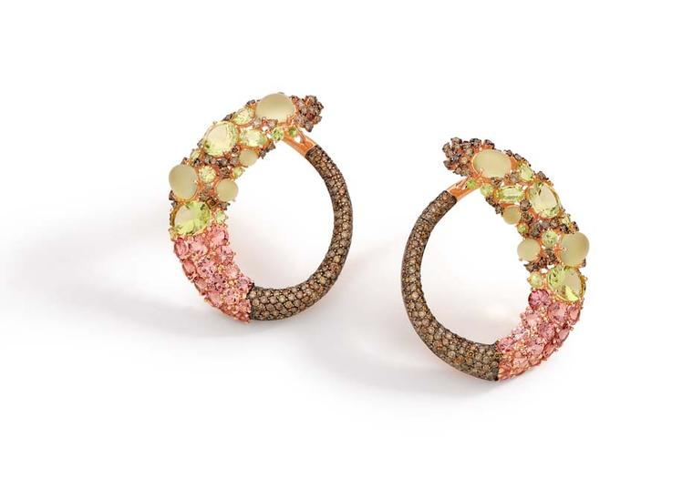 Brumani Baobab collection rose gold earrings with rown diamonds, chrysoberyl, lemon quartz and mandarin garnet.