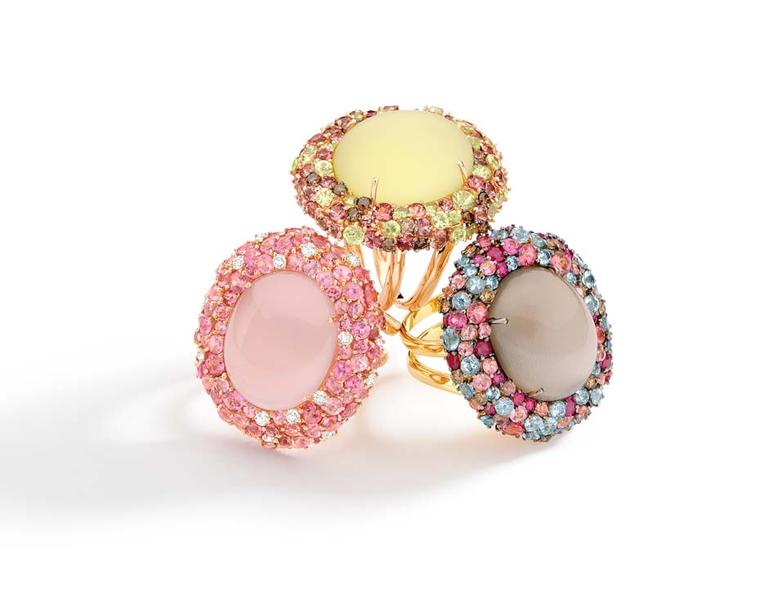 Brumani Baobab rings in yellow gold with rose, smoky and lemon quartz.