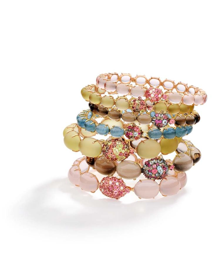 Brumani Baobab collection stacking rings in yellow and rose gold with brown and white diamonds, rose, smoky and lemon quartz, pink tourmalines, rubies, mandarin garnets and aquamarines.