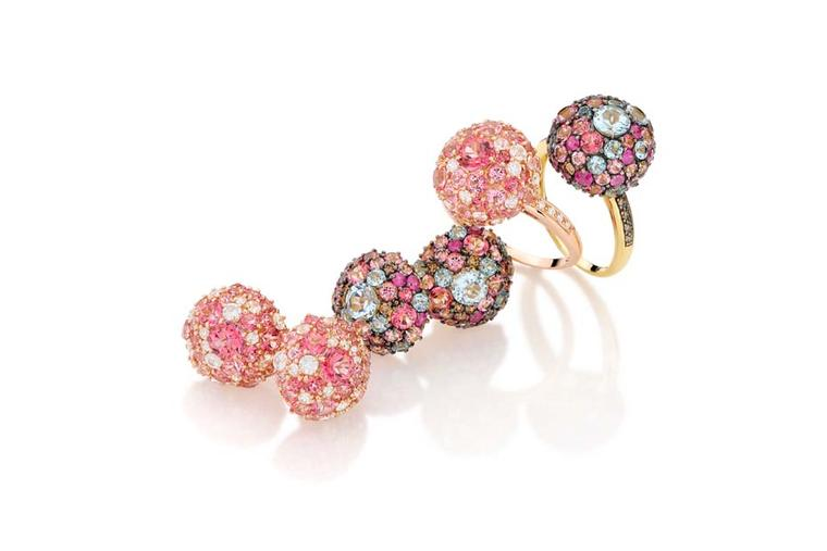Brumani Baobab collection earrings and rings in yellow and rose gold with brown diamonds, white sapphires, rubies and blue and pink topaz.