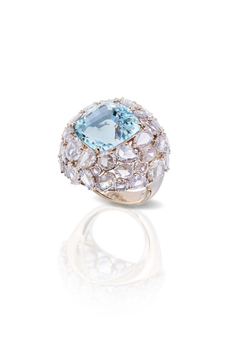 One-of-a-kind Pomellato Pom Pom collection aquamarine ring surrounded by different cuts of diamonds.