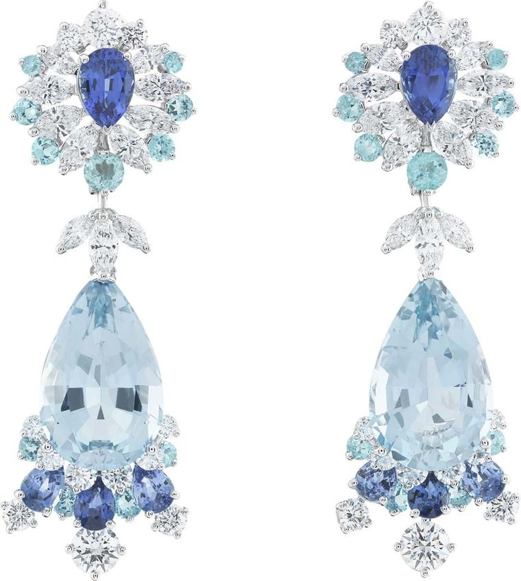 Van Cleef & Arpels white gold Peau d'Âne collection aquamarine earrings with diamonds, sapphires and tourmalines.