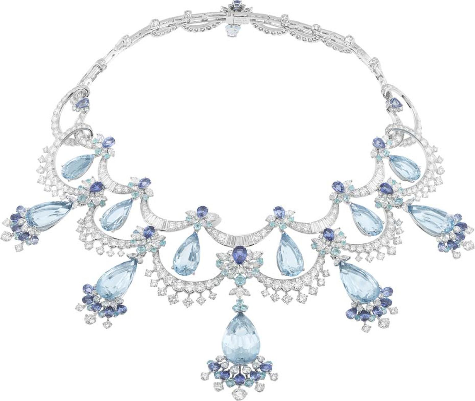 Van Cleef & Arpels Peau d'Âne collection white gold Colour of Time Dress necklace with round diamonds, tourmalines, sapphires and 12 pear-shaped aquamarines totalling 129.87ct.