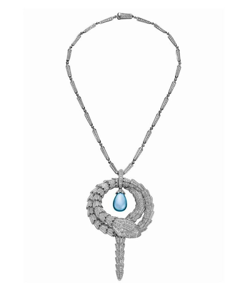 The Bulgari Serpenti necklace featuring a diamond encrusted serpent encircling a single aquamarine bought by Justin Bieber for $545,000 at the 2014 amfAR Cinema Against AIDS auction at the Cannes Film Festival. Bieber outbid Leonardo DiCaprio for the one-