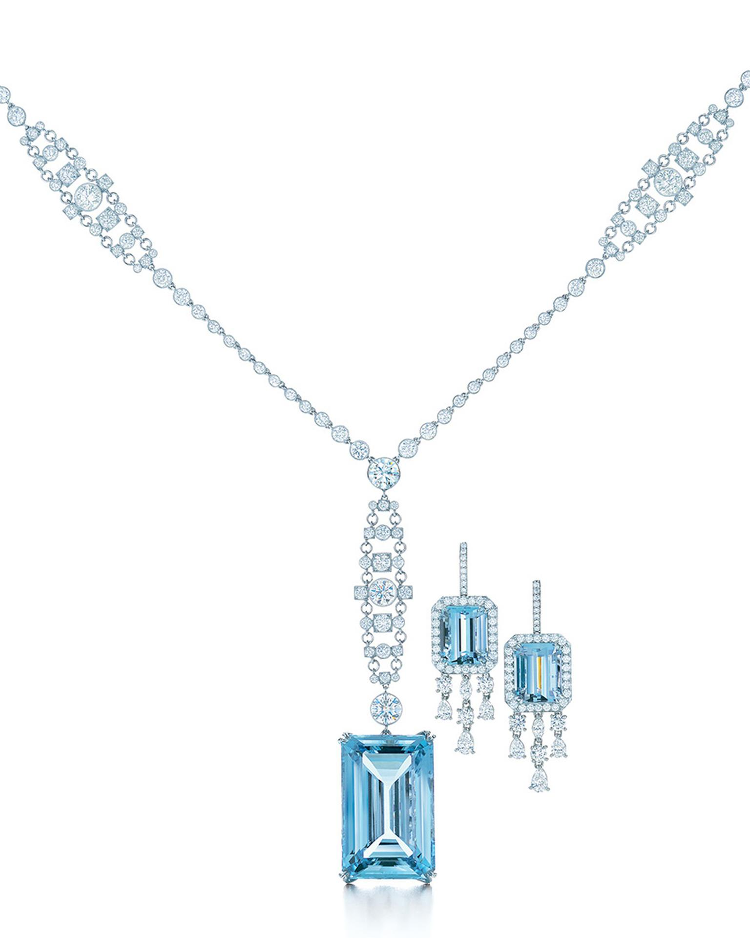 Tiffany's Great Gatsby collection platinum and diamond necklace featuring a 49.59ct emerald cut as well as platinum and diamond earrings with emerald cut aquamarines, as worn in The Great Gatsby film.