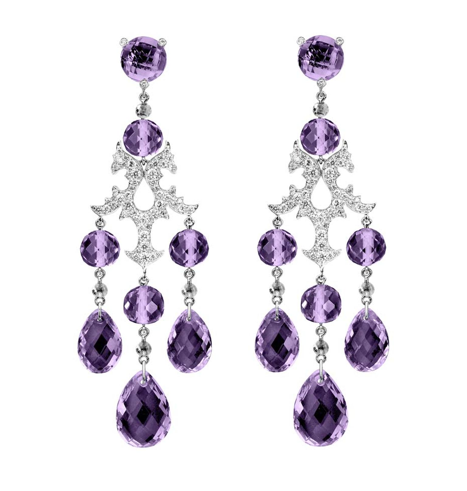 Ralph Lauren Fine Jewellery collection New Romantic amethyst and diamond earrings as worn by Margot Robbie during the Ralph Lauren charity dinner at Windsor Castle.