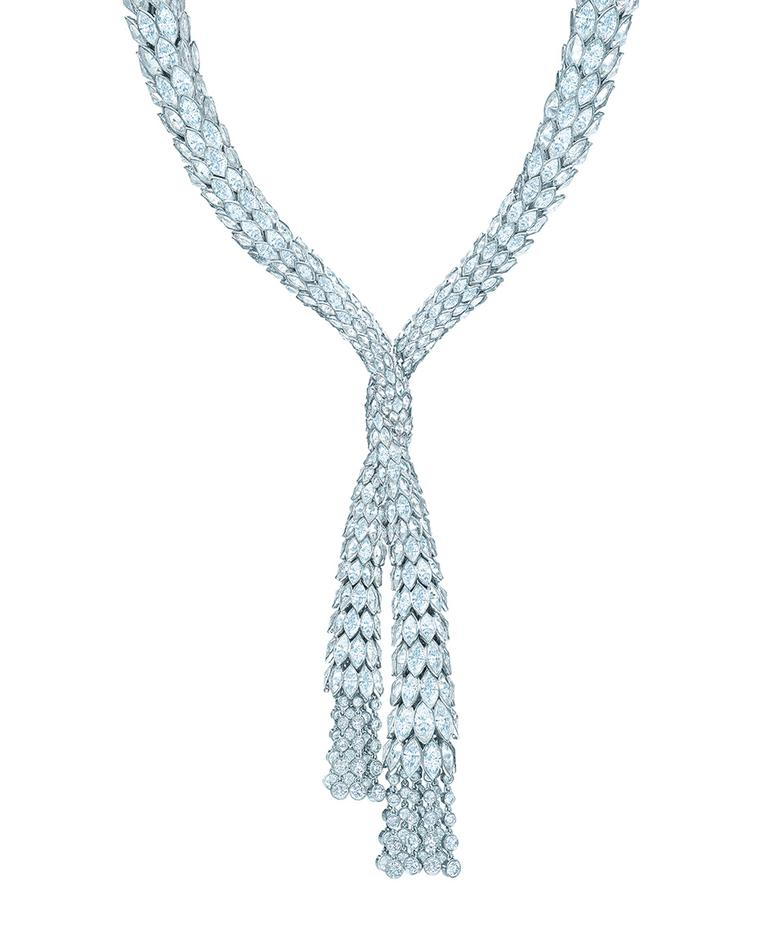 Tiffany Blue Book collection diamond drape necklace features more than 140ct of rosecut marquise and round brilliant diamonds.