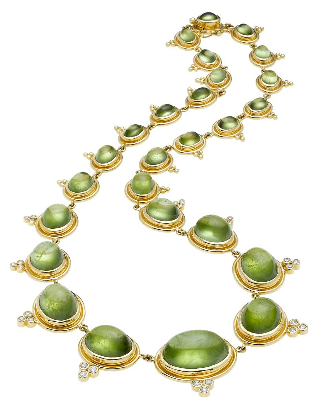 Temple St. Clair Classic Graduated gold necklace with cabochon peridot and diamond.