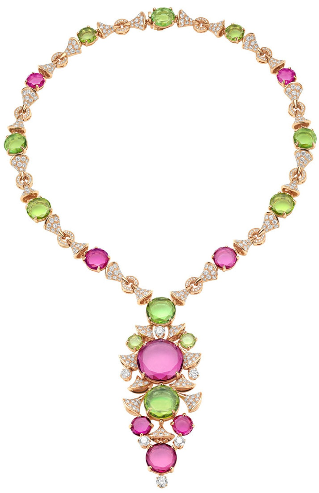 Bulgari Diva collection necklace combines peridot with purple rubellite and green tourmaline.