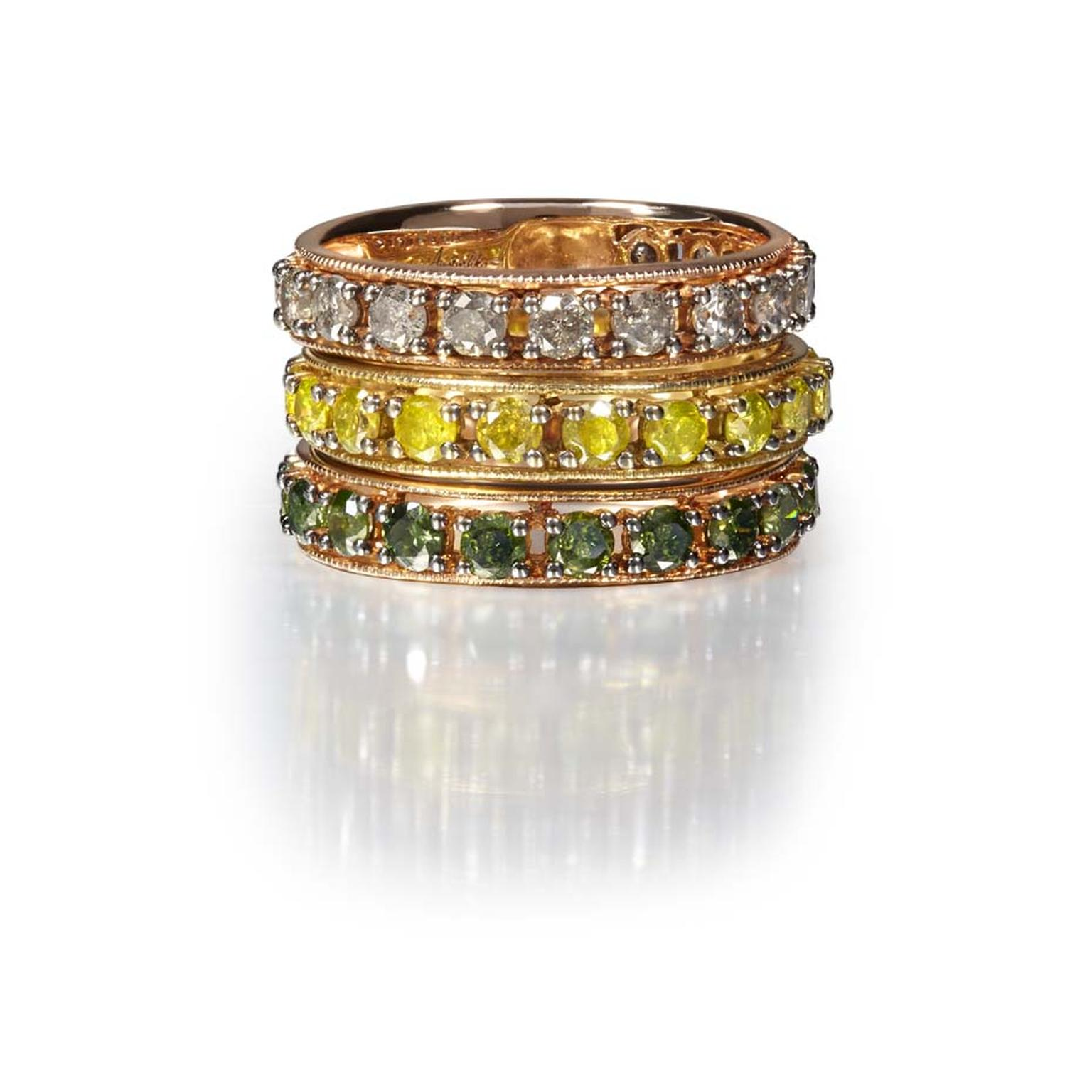 Annoushka stackable Dusty Diamond Eternity rings with white, yellow and green diamonds.