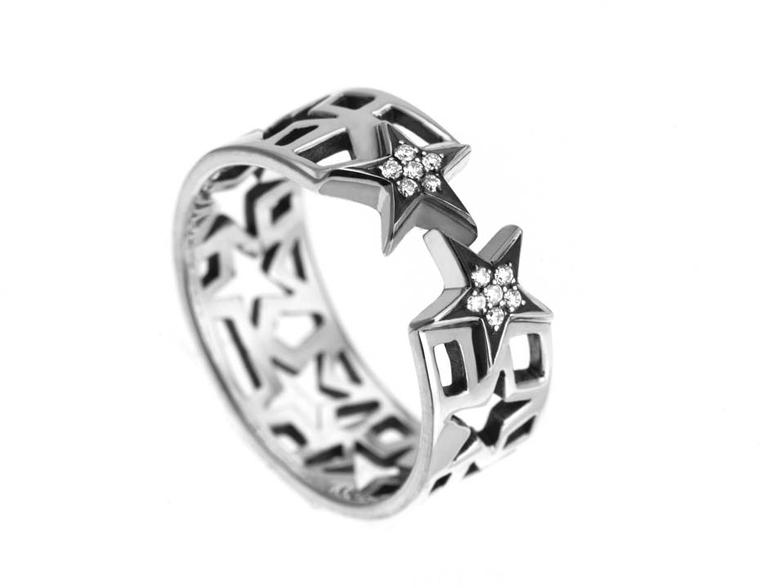 Azza Fahmy for Matthew Williamson sterling silver Star Diamond ring.