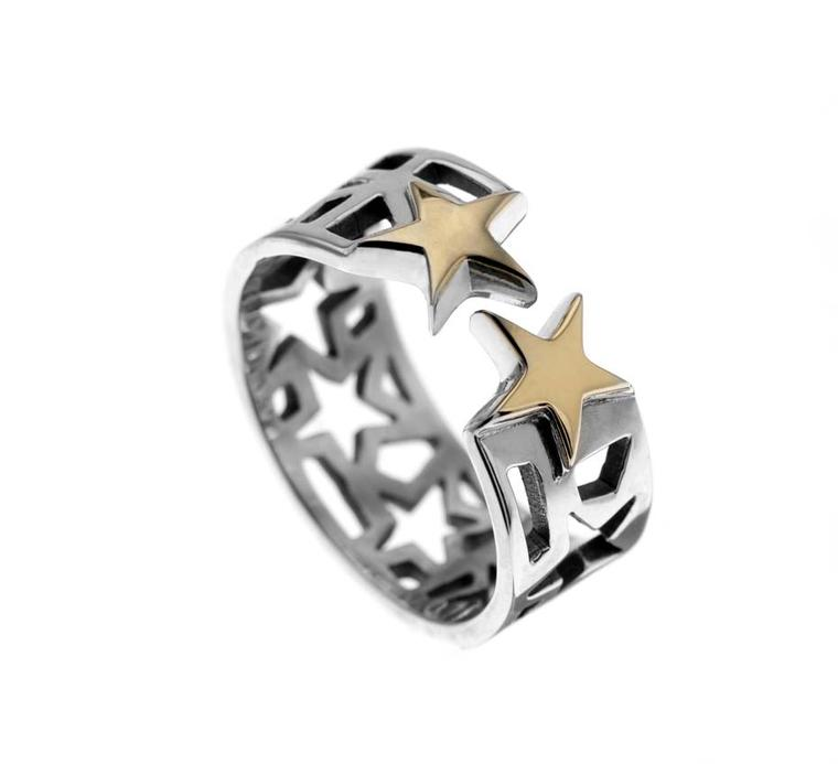 Azza Fahmy for Matthew Williamson sterling silver gold Stars Stack ring.