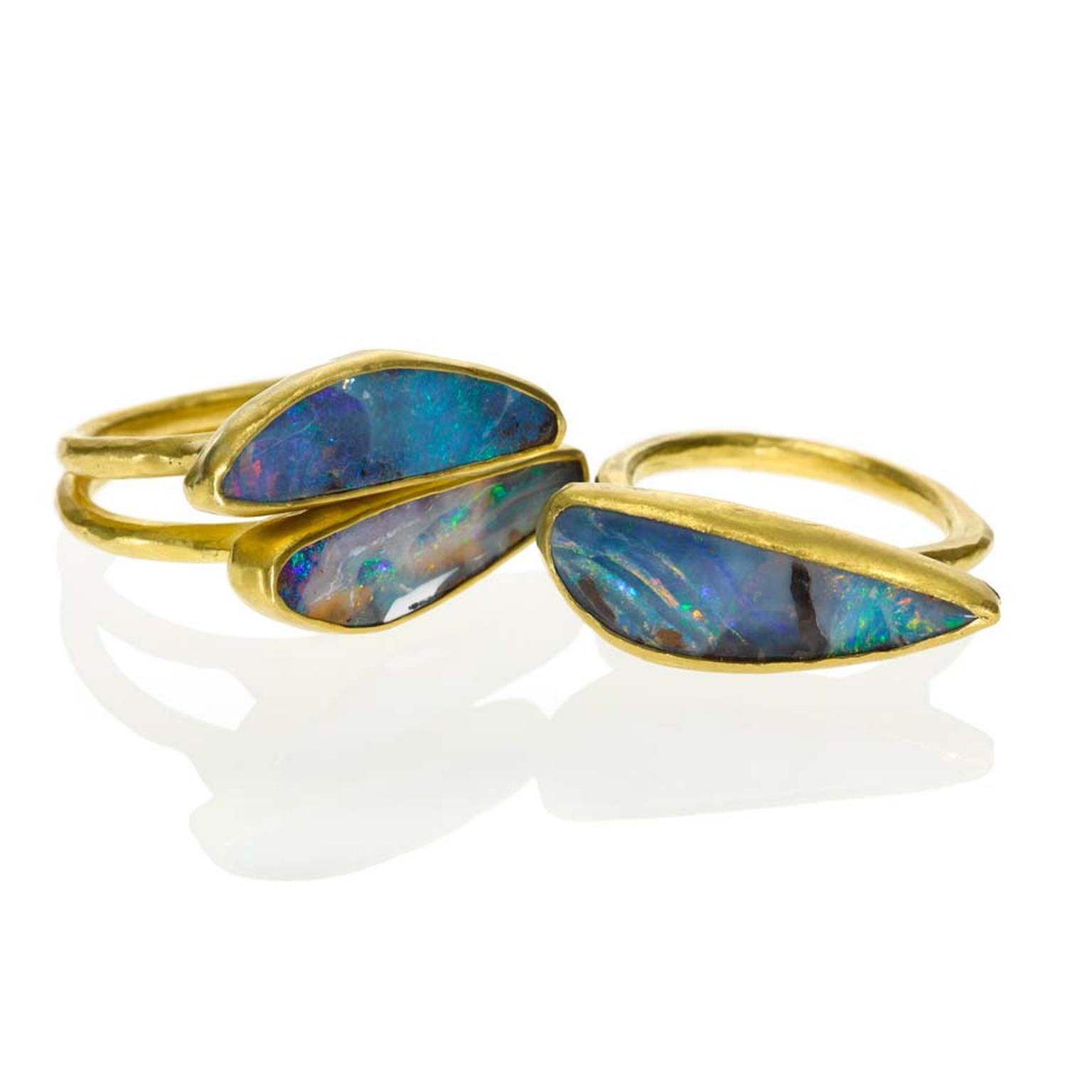 Margery Hirschey stackable opal and gold rings.