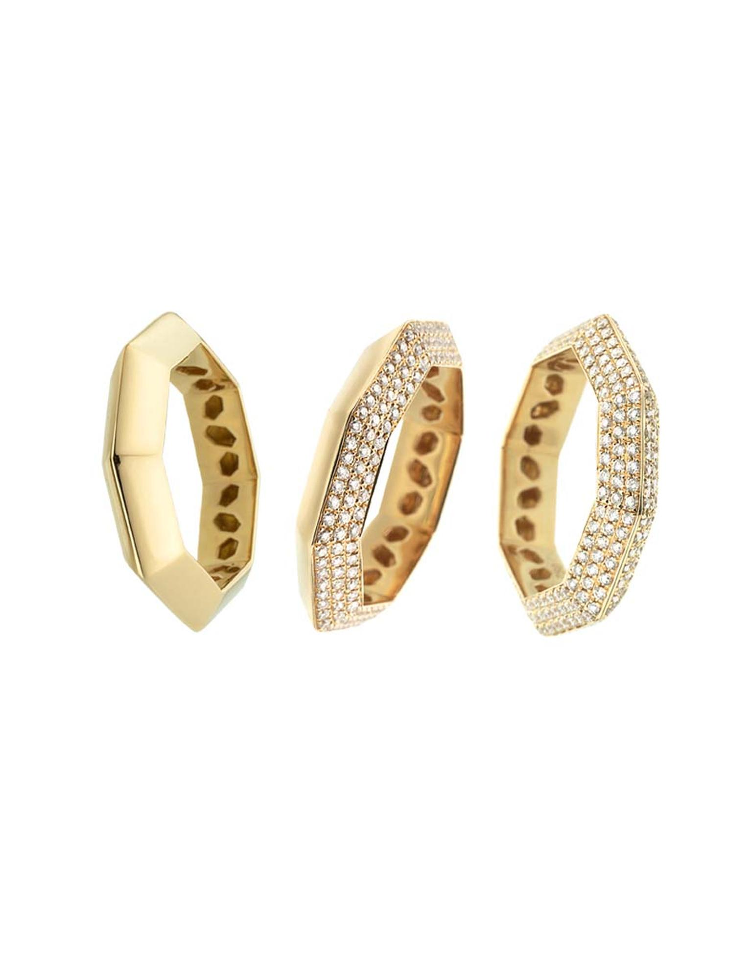 Octium Stacks and Facets yellow gold and diamond rings.