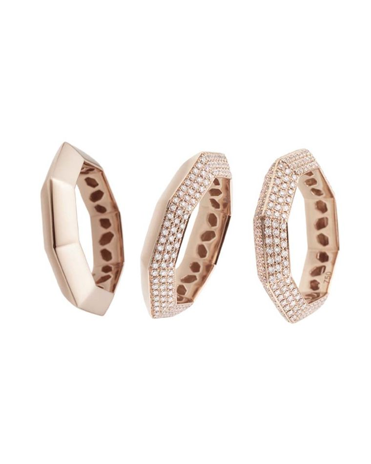 Octium Stacks and Facets rose gold and diamond rings.