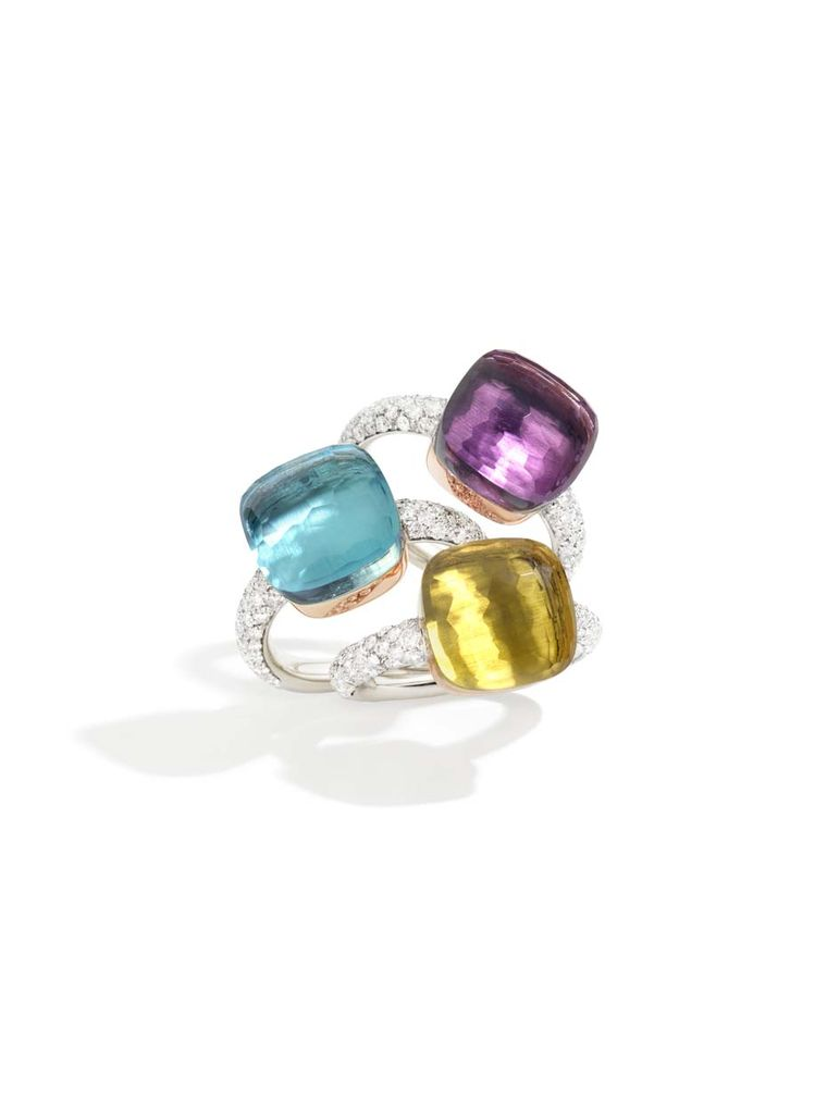 Pomellato Stackable Nudo white gold and diamond rings in amethyst, blue topaz or lemon quartz.