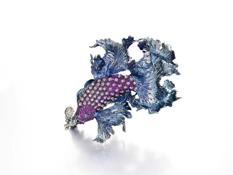 Wallace Chan Gleams of Waves brooch featuring yellow diamonds at 6.68ct each, rubies and pink sapphires.